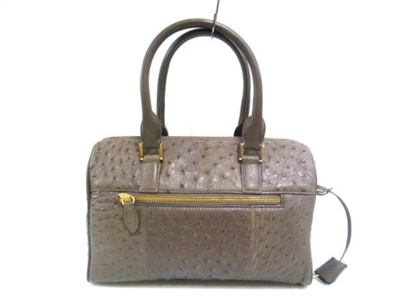 ファルチ ニューヨーク ハンドバッグ美品  ダークグレー オーストリッチ