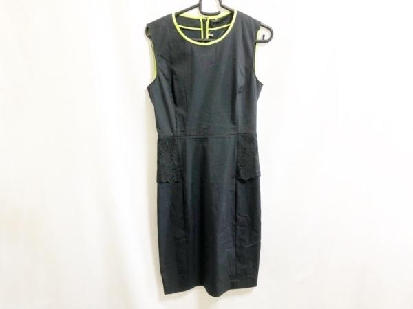 ELIE TAHARI(エリータハリ) ワンピース レディース 黒×ライトグリーン トリム/刺繍