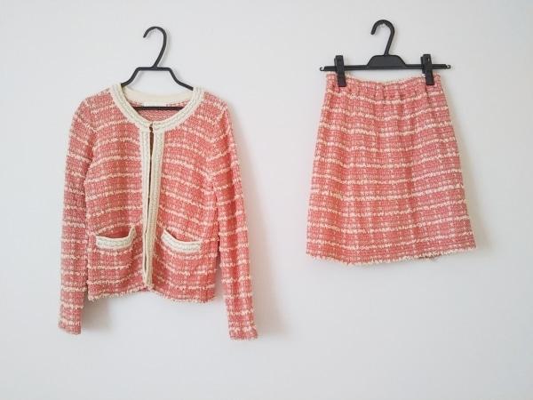 ルスーク スカートスーツ サイズ38 M レディース美品  ピンク×アイボリー ラメ