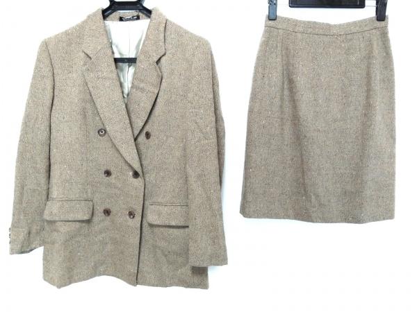 COMME CA DU MODE(コムサデモード) スカートスーツ レディース ベージュ×マルチ