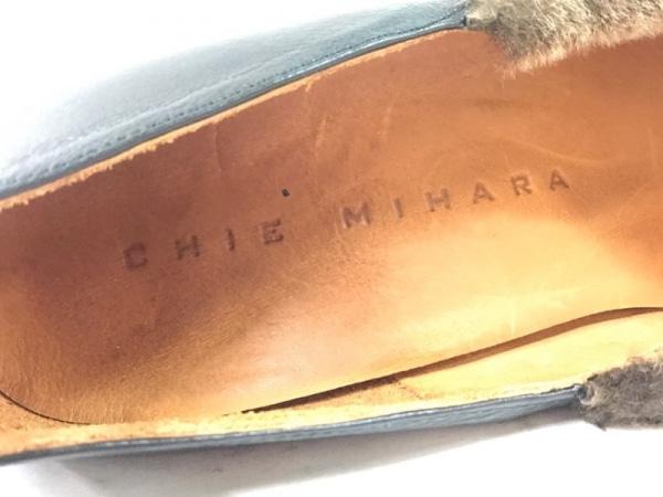 チエミハラ パンプス 36 1/2 レディース 黒×ダークブラウン レザー×フェイクファー
