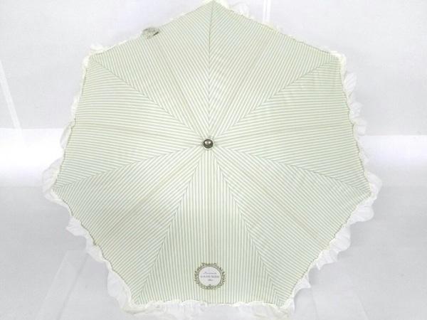 LADUREE(ラデュレ) 傘美品  ライトグリーン×アイボリー ストライプ/フリル 化学繊維