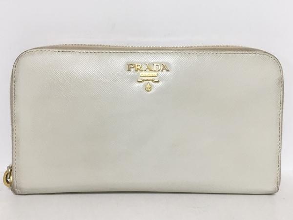 PRADA(プラダ) 長財布 - 1M0506 白 ラウンドファスナー レザー