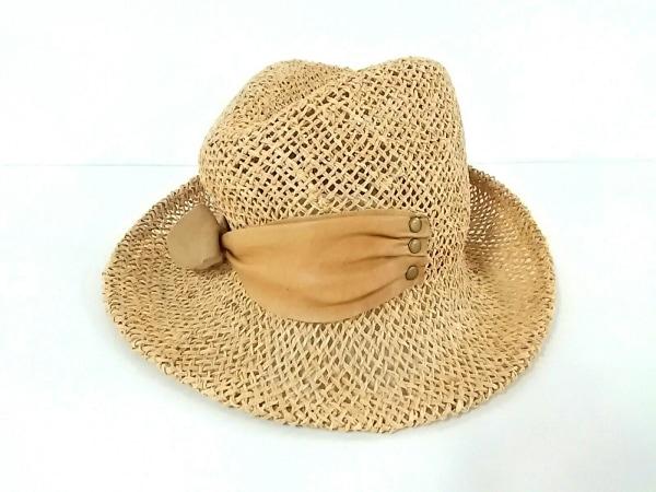 Lola(ローラ) 帽子 ライトブラウン リボン ストロー×レザー