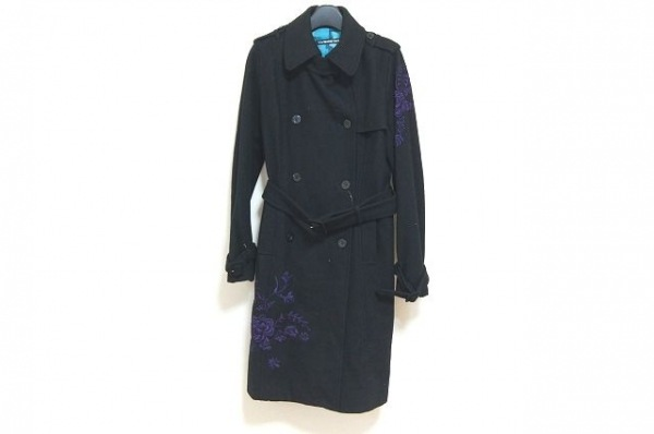 ヴィヴィアンタム トレンチコート サイズ1 S レディース美品  黒×パープル 刺繍/冬物