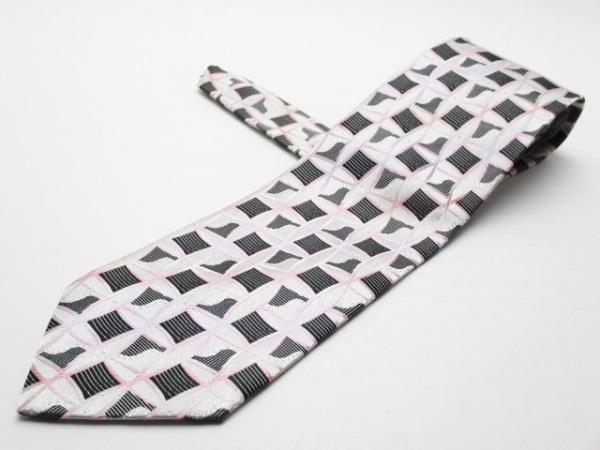 ポールスミス ネクタイ メンズ美品  ライトグレー×黒×ピンク グラデーション/ラメ