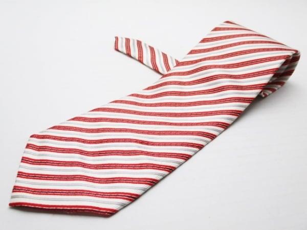 PaulSmith(ポールスミス) ネクタイ メンズ 白×レッド×マルチ 斜めストライプ