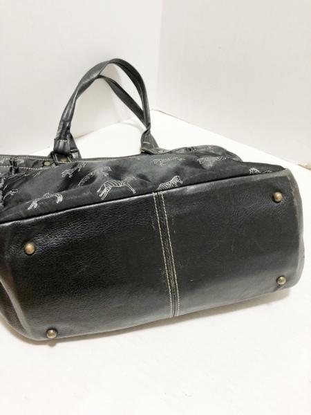 Calen Blosso(カレンブロッソ) トートバッグ 黒×ライトグレー ナイロン×レザー