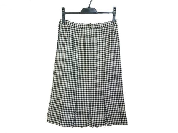 Leilian(レリアン) スカート サイズ9 M レディース美品  アイボリー×黒 チェック柄