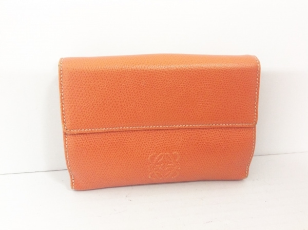 LOEWE(ロエベ) Wホック財布 - オレンジ レザー