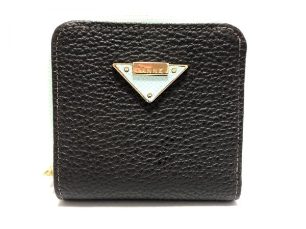 IANNE(イアンヌ) 2つ折り財布美品  黒×ライトブルー レザー