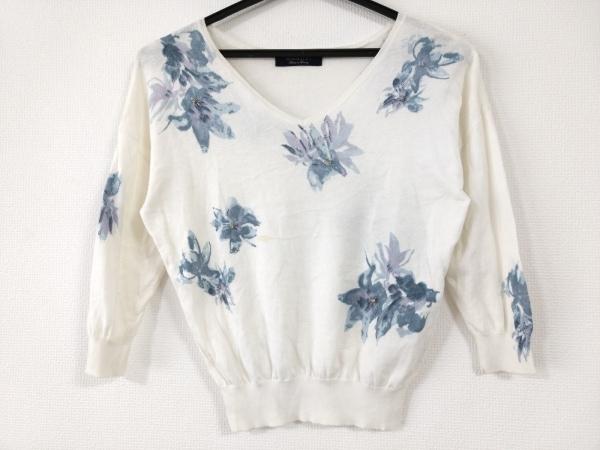 ジャスグリッティー 七分袖セーター サイズ2 M レディース アイボリー×ブルー