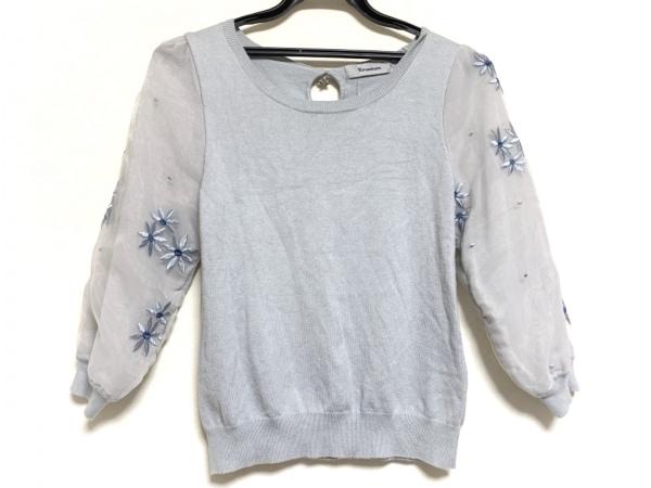 リランドチュール 七分袖セーター サイズ2 M レディース ライトブルー フラワー/刺繍