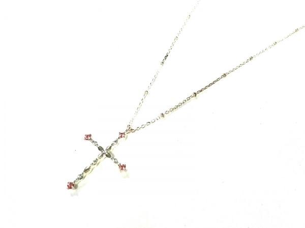 4℃(ヨンドシー) ネックレス美品  シルバー×カラーストーン ピンク クロス