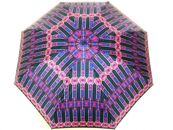ANNA SUI(アナスイ) 折りたたみ傘美品  黒×ピンク×ブルー 化学繊維