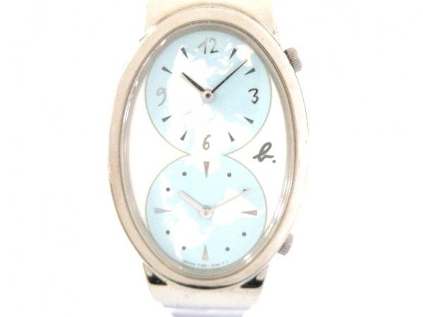 agnes b(アニエスベー) 腕時計 Y150-5M60 レディース 白×ライトブルー