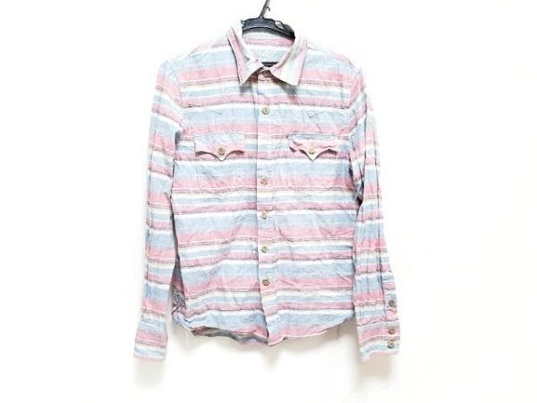 TMT(ティーエムティー) 長袖シャツ サイズS メンズ ブルー×マルチ ボーダー
