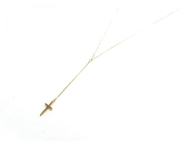 e.m.(イーエム) ネックレス美品  K18YG×カラーストーン ピンク クロス
