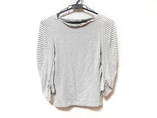 マックスマーラ 七分袖Tシャツ サイズM レディース グレー×白 ボーダー/ラメ