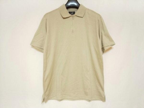 ダンヒル 半袖ポロシャツ サイズL メンズ美品  ベージュ ハーフジップ