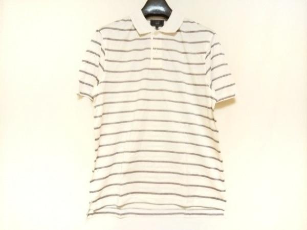 ダンヒル 半袖ポロシャツ サイズL メンズ美品  アイボリー×黒×マルチ ボーダー