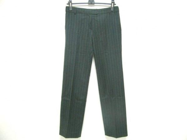 ポールスミスブラック パンツ サイズ40 M レディース 黒×ブルー×ライトグリーン