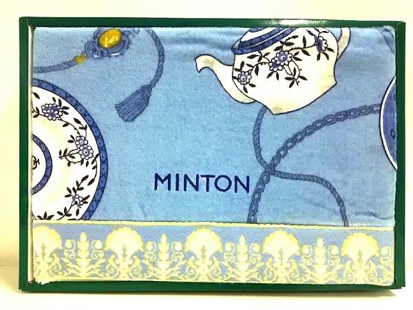 MINTON(ミントン) 小物新品同様  ライトブルー×白×マルチ バスタオル コットン