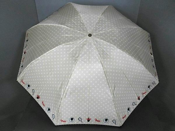 LULUGUINNESS(ルルギネス) 折りたたみ傘 ベージュ×白×マルチ ドット柄 化学繊維