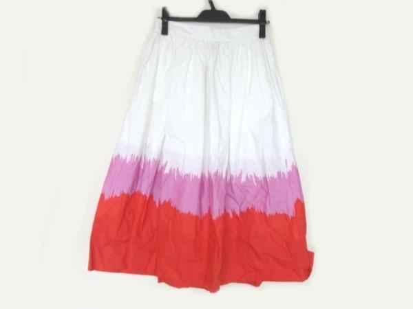 ケイトスペード ロングスカート サイズ0 XS レディース アイボリー×ピンク×レッド