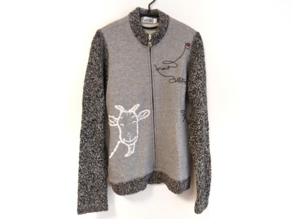 クニオ サトウ 長袖セーター サイズLL レディース グレー×黒 ジップアップ