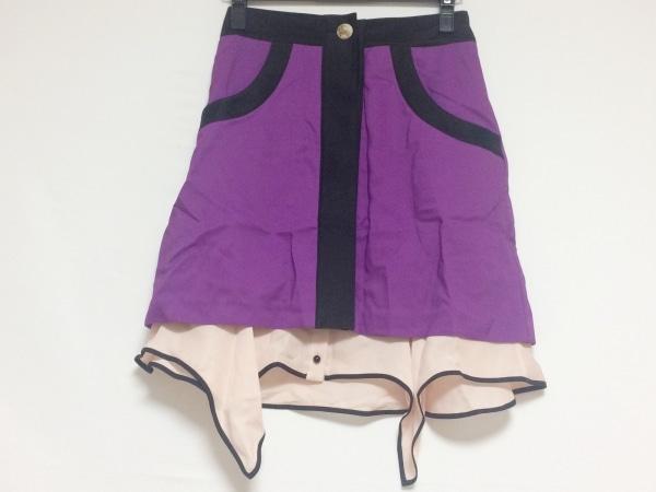 アカネ ウツノミヤ スカート サイズ38 M レディース パープル×黒×ピンク