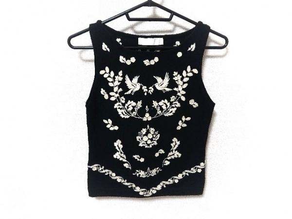 ケイタマルヤマ ノースリーブセーター サイズ2 M レディース 黒×アイボリー 刺繍
