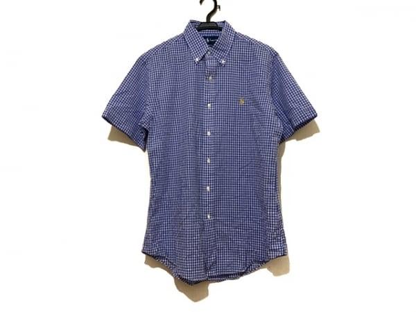 RalphLauren(ラルフローレン) 半袖シャツ サイズM メンズ美品  ブルー×白 チェック柄