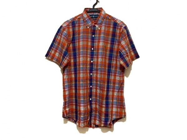 ラルフローレン 半袖シャツ サイズM メンズ美品  オレンジ×ネイビー×マルチ