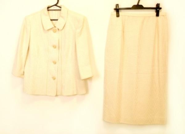 ラピーヌルージュ スカートスーツ サイズ13 L レディース美品  ベージュ×アイボリー