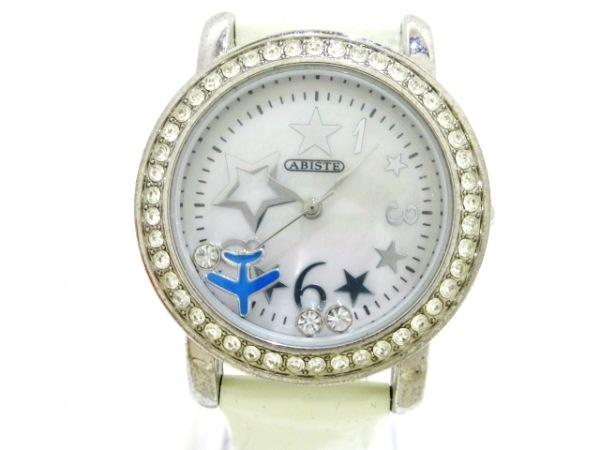 アビステ 腕時計美品  - レディース 革ベルト/シェル文字盤/ラインストーンベゼル