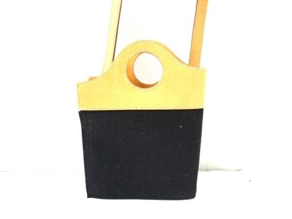 マサキマツシマ ショルダーバッグ 黒×ライトブラウン コットン×レザー