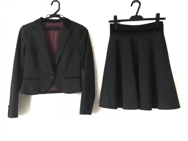 クリスタルシルフ スカートスーツ サイズ36S レディース ダークグレー×黒