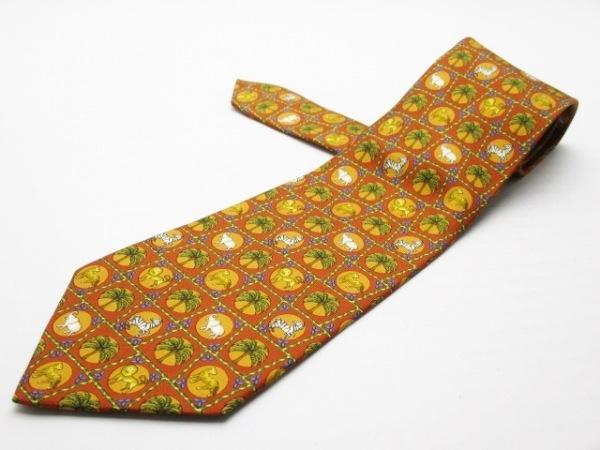 サルバトーレフェラガモ ネクタイ メンズ美品  ブラウン×オレンジ×マルチ