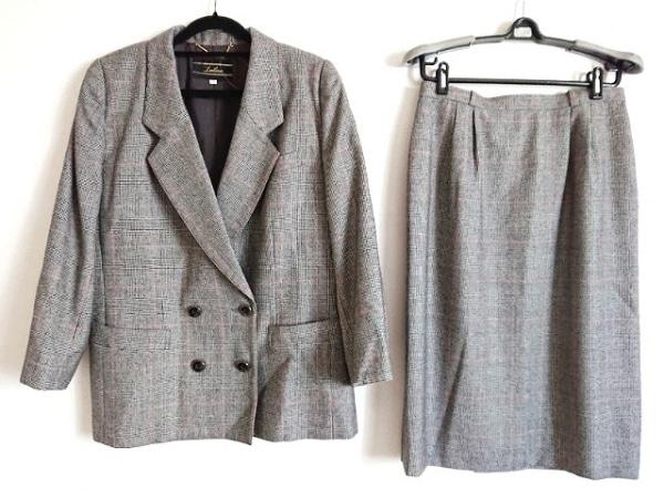 レリアン スカートスーツ サイズ11 M レディース美品  ダークグレー×黒×レッド