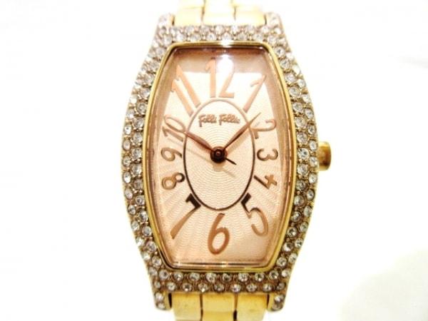 フォリフォリ 腕時計 - WF5R084BP レディース ラインストーンベゼル ピンクゴールド