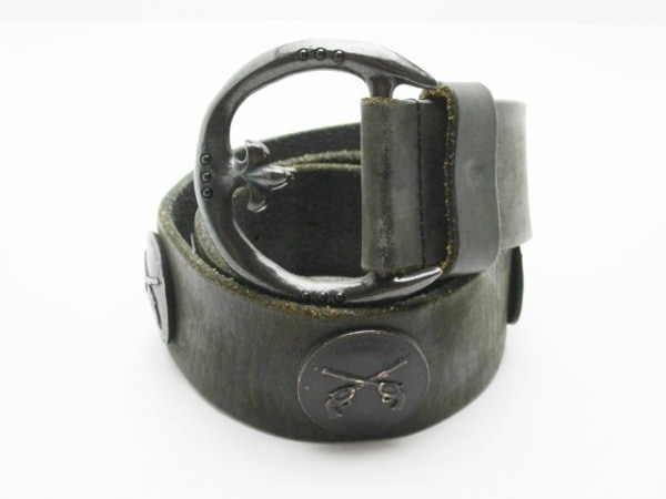 roar(ロアー) ベルト 2 黒×ダークグレー レザー×金属素材