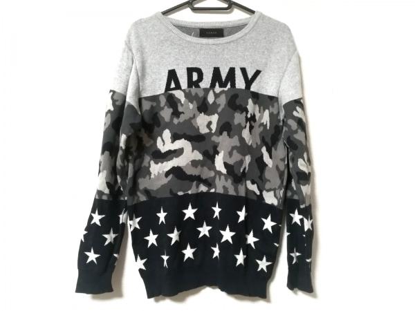 アームド 長袖セーター サイズ1 S メンズ ダークグレー×黒×マルチ 迷彩柄/スター