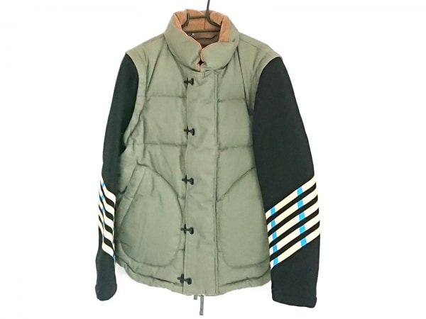ミハラヤスヒロ ダウンジャケット サイズ48 XL メンズ 黒×カーキ×マルチ 冬物/2WAY