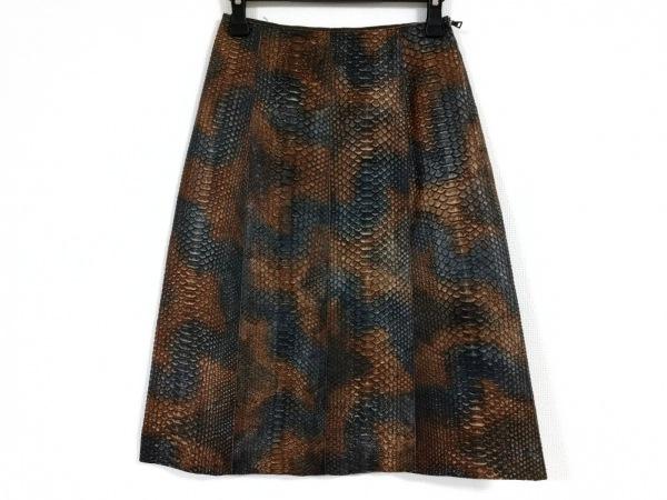 PRADA(プラダ) スカート サイズ40 M レディース ダークブラウン×ダークグレー