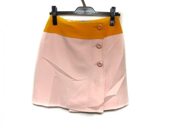 PRADA(プラダ) スカート サイズ38 S レディース美品  ピンク×オレンジ
