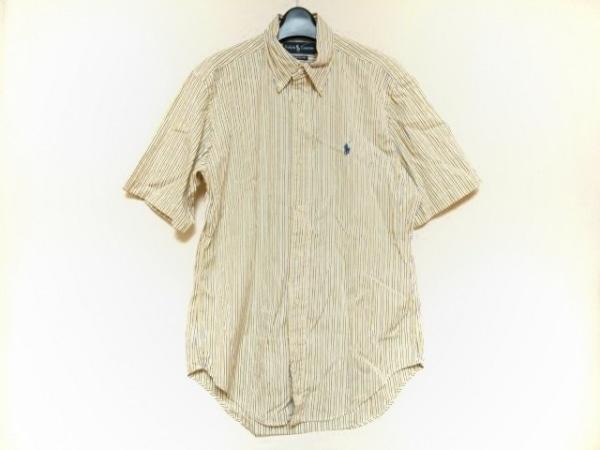 ラルフローレン 半袖シャツ サイズM メンズ イエロー×白×マルチ ストライプ
