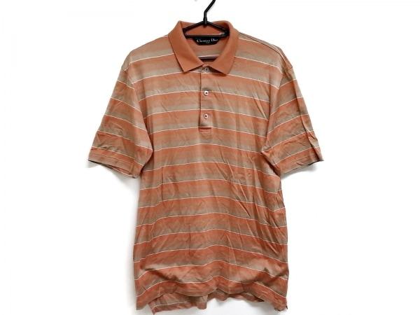 クリスチャンディオールスポーツ 半袖ポロシャツ サイズM メンズ オレンジ×ベージュ