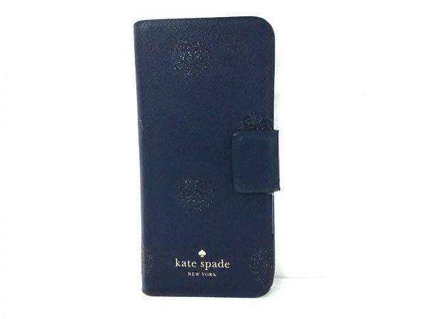 ケイトスペード 携帯電話ケース ダークネイビー×ブルー iPhoneケース レザー