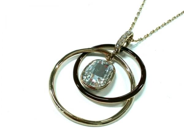 GROSSE(グロッセ) ネックレス美品  金属素材×ラインストーン ゴールド×ボルドー